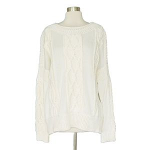 Bird Juicy Couture Ivory White Cableknit Sweater L